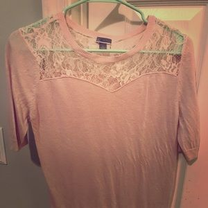Short sleeve sweater too with lace! Size XS